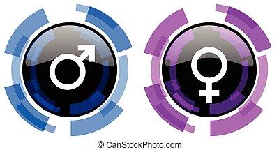 genere, vettore, maschio, femmina, icone