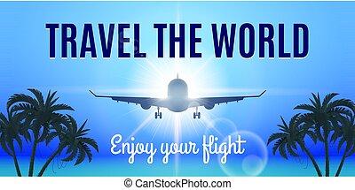 Generic Aeroplane - Airplane Flight To Paradise. Concept...