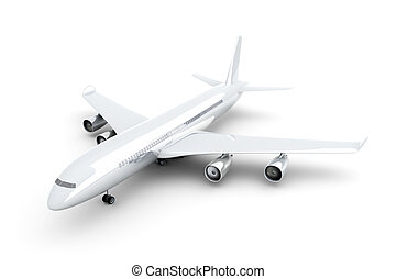 Generic Airplane - 3D rendered Illustration. Isolated on...