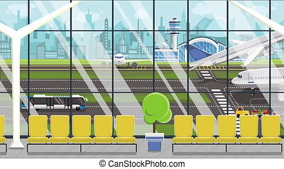 Loopable cartoon animation of a generic airport