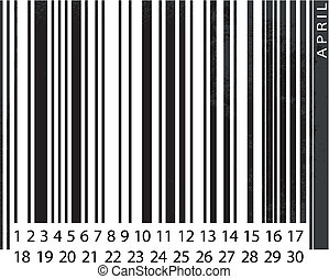 Generic APRIL Calendar, Barcode Design. vector illustration