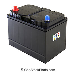 car battery - Generic black car battery isolated on white