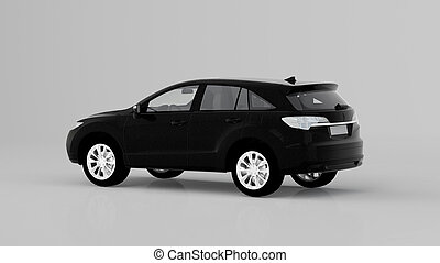 Generic black SUV car isolated on white background, back view