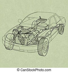 Generic Car Diagram. A ghosting or cross section of a car showing the engine, drive train and suspension.