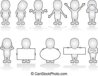 Series of Generic Human Characters in various poses