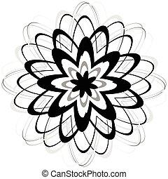 Generic circular motiff, mandala. Abstract grayscale...