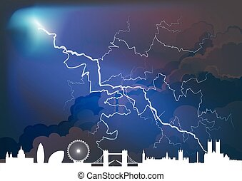 Generic cityscape with thunderstorm - Dramatic thunderstorm ...