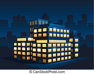 generic corporate modern office building at night -...
