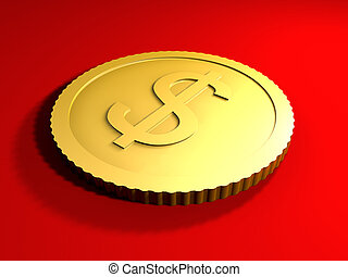 Generic Dollar Coin - 3D rendered Illustration. Generic Coin...