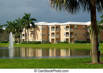 Generic Florida Apartment Complex - Looking across a pond ...