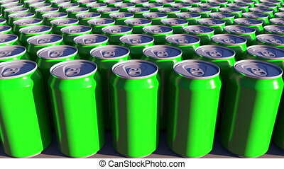 Generic green aluminum cans. Soft drinks or beer production. Recycling packaging. 4K seamless loop dolly clip, ProRes