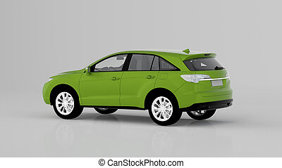 Generic green SUV car isolated on white background, back view