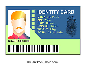 Generic ID thumb-print card - Illustration of a generic...