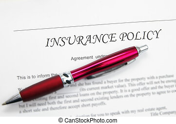 generic insurance policy with pen; could be life, auto, health etc