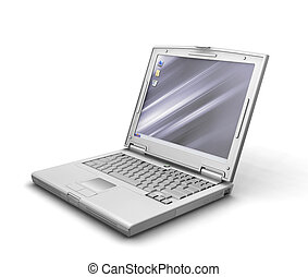 Generic laptop - 3D render of a generic laptop isolated on...