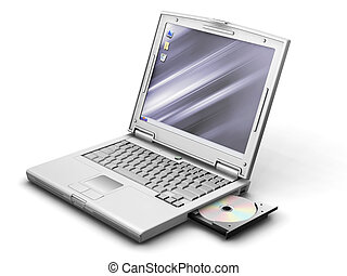 Generic laptop - 3D render of a generic laptop with cd drive...