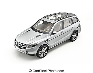 Generic Luxury silver SUV car Isolated on white.