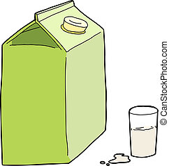 Generic milk carton with glass and spill on white