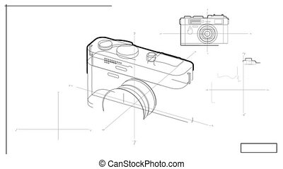 Black and white technical drawing of a generic camera as seen from several angles and organized in a blueprint.