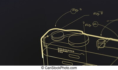 Concept animation showing a wireframe 3D model of a generic camera being built. Related terms and phrases are written around it as the camera smoothly pans and zooms out.