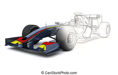 Generic Racing Car with half sketched