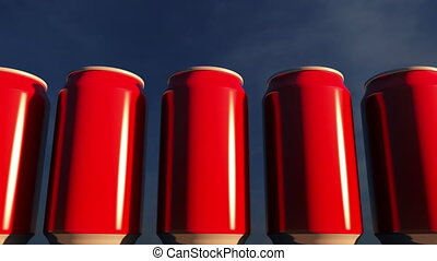 Generic red cans against sky at sunset. Soft drinks or beer for party. Beach bar. 4K seamless loop dolly clip, ProRes