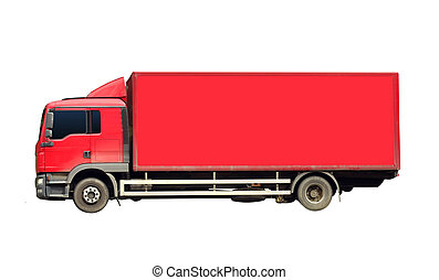 generic red truck for transportation isolated on white background