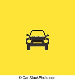 Generic retro car silhouette front view icon