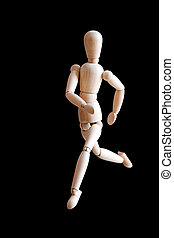 Generic Runner - A wooden figurine running isolated over a...