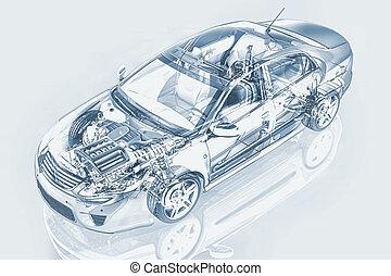 Generic sedan car detailed cutaway representation, with...