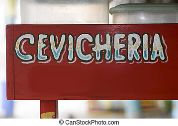 generic sign for ceviche restaurant stand