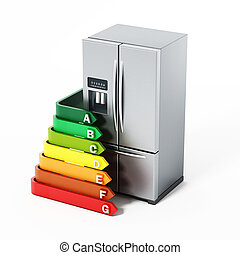 Generic silver refrigerator and energy efficiency levels chart. 3D illustration