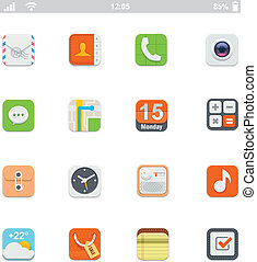 Set of the square generic smartphone applications icons
