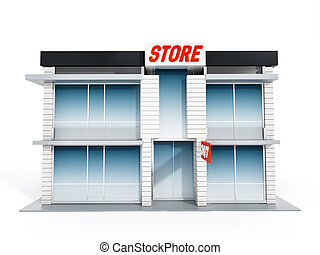 Generic store front. 3D illustration