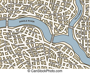 Editable vector street map of a generic city with names on a separate layer