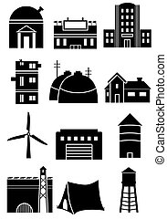 Generic Structure Icons - Set of generic black and white...