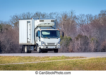 Generic White Refrigerated Delivery Truck On Roadway