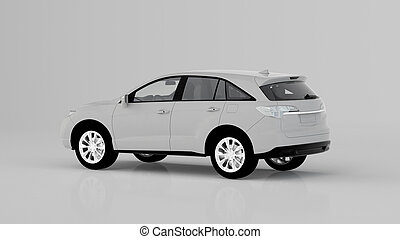 Generic white SUV car isolated on white background, back view