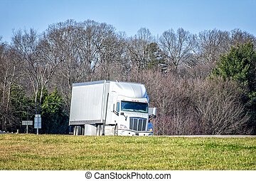 Generic White Tractor Trailer Truck On Highway