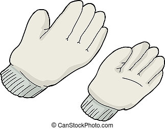 Generic work gloves over isolated white background