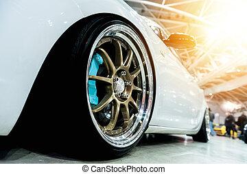 generisch, auto, weißes, sport, front