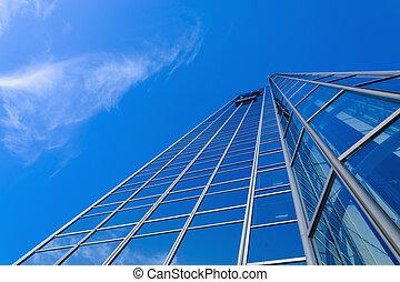 generisch, blaues, aus, himmelsgewölbe, wolkenkratzer