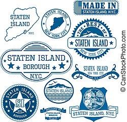 generisch, eiland, staten, stad, postzegels, tekens &...