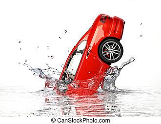 generisch, splashing., wasser, auto, sedan, fallender , ...