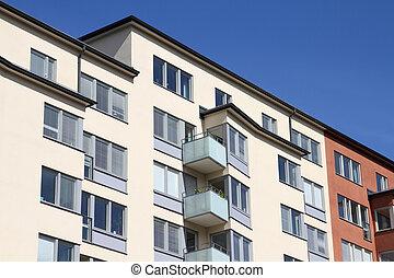 generisk, bostads, byggnad