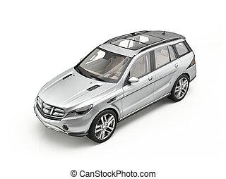 generiske, luksus, sølv, suv, automobilen, isoleret, på, white.