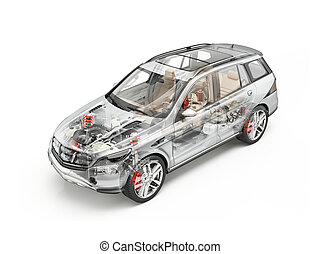 generiske, suv, automobilen, detaljeret, cutaway, 3, rendering., blød, look.