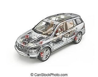 generiske, suv, automobilen, detaljeret, cutaway, 3, rendering., hård, look.