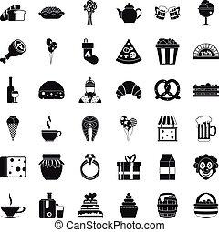 generosità, icone, set, semplice, stile