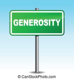 generosità, vettore, signpost